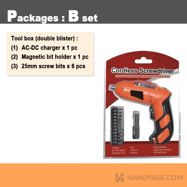 4.8V Lithium Rechargeable Screwdriver Kit