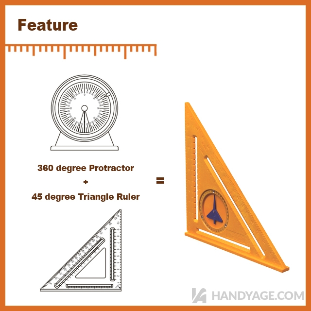 2-in-1 Protractor Angle Square